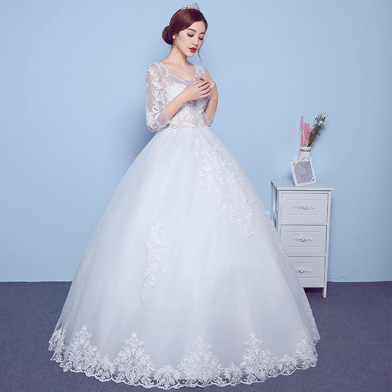 2019 New Long Solid Color V-neck Sexy Backless Lace Wedding Dress2019 New Long Solid Color V-neck Sexy Backless Lace Wedding Dress