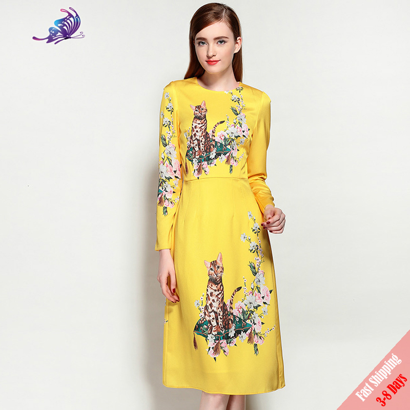 2017 High Quality 100 Silk New Summer Runway Designer Women S Floral Printed O Neck Chinese