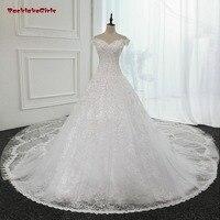 Robes de mariée Cathédrale Queue Une Ligne V Cou Étage Longueur De Luxe Voir à travers Retour Robes De Mariée Chine robe de noiva