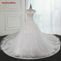 Wedding Dresses Long Tail A Line V Neck Floor Length Luxury See Through Back Bridal Gowns