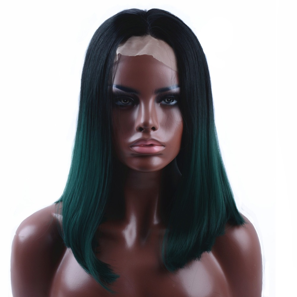 StrongBeauty Lace Front Wigs Ombre Dark green Medium length Straight Hair Synthetic Heat Resistant Fiber wig