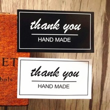 80pcs/lot Black And White Thank You Rectangular Seal Sticker Baking For Handmade Product