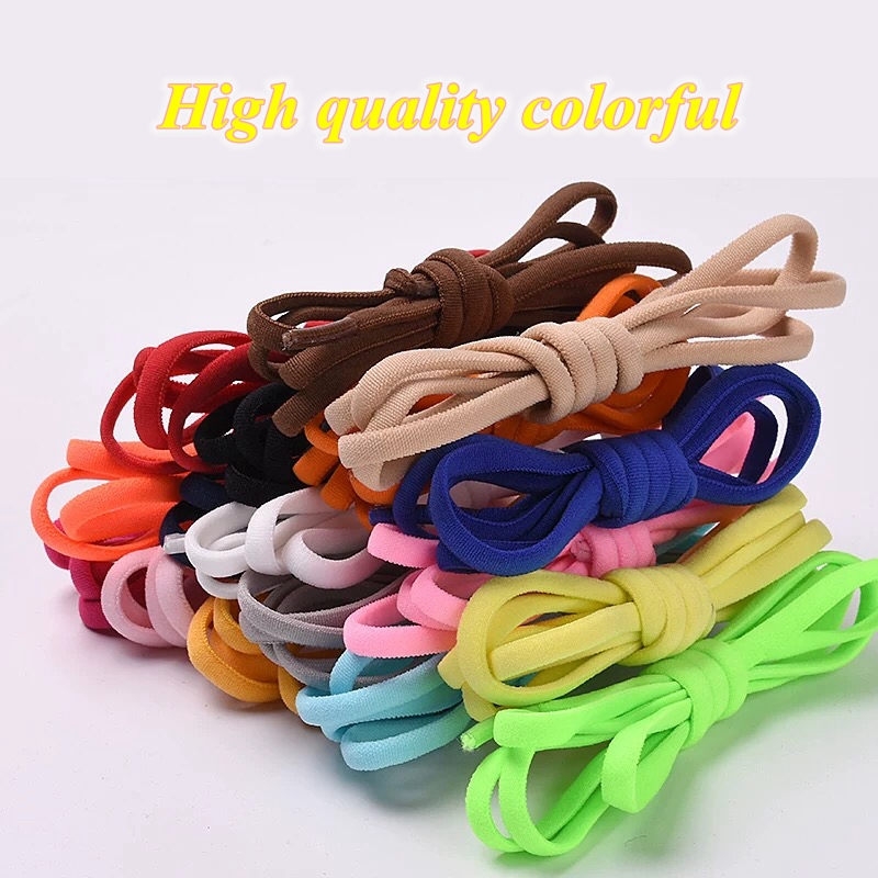 1Pair Elastic No Tie Shoe Laces Round Locking Elastic Shoelaces Kids Adult Running Sneakers Shoelace Lazy Laces 19 Color