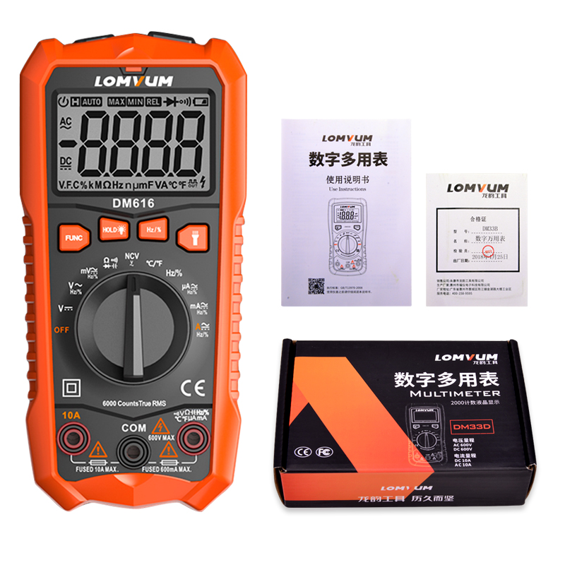 Image 2 - LOMVUM NCV Digital Multimeter 6000 counts Auto Ranging AC/DC voltage Meter Flash Back light Large Screen Ohm Tester Polimetro-in Multimeters from Tools