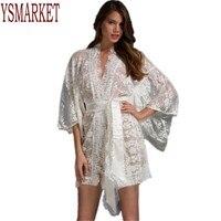 Venda quente vestido sexy lace babydoll chemise womens black white lace kimono pijama noite wear pijamas pijamas com cinto A21998