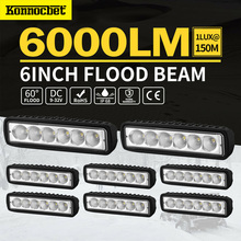 цена на 8PCS 18W LED Light Bar Flood Spot Work light Bar Lamp Offroad Car Work Light for Ford SUV Uaz 4WD Driving Led Beams 12V Truck