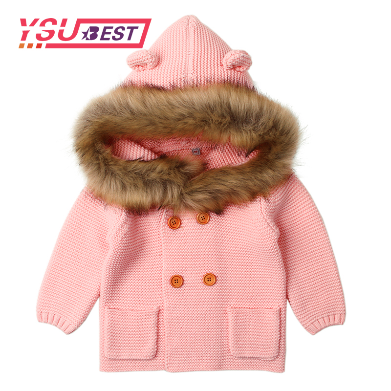 New Autumn Winter Sweaters Baby Boys Girls Cartoon Cardigan Ears Clothing Newborn Knitted Jackets Hooded Long Sleeve Baby Coat newborn 2017 autumn and winter new girl cartoon plus cashmere cardigan women baby out jackets thick dress princess dress533