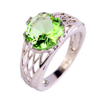 New Fashion Popular Jewelry Wholesale Round Cut Green Amethyst 925 Silver Ring Size 6 7 8 9 10 11 12 For Women's Gift