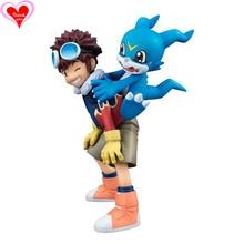 Love Thank You Digimon Adventure Daisuke Motomiya Davis V-mon 10cm PVC Anime Figure Toy Collection model gift New Hobby
