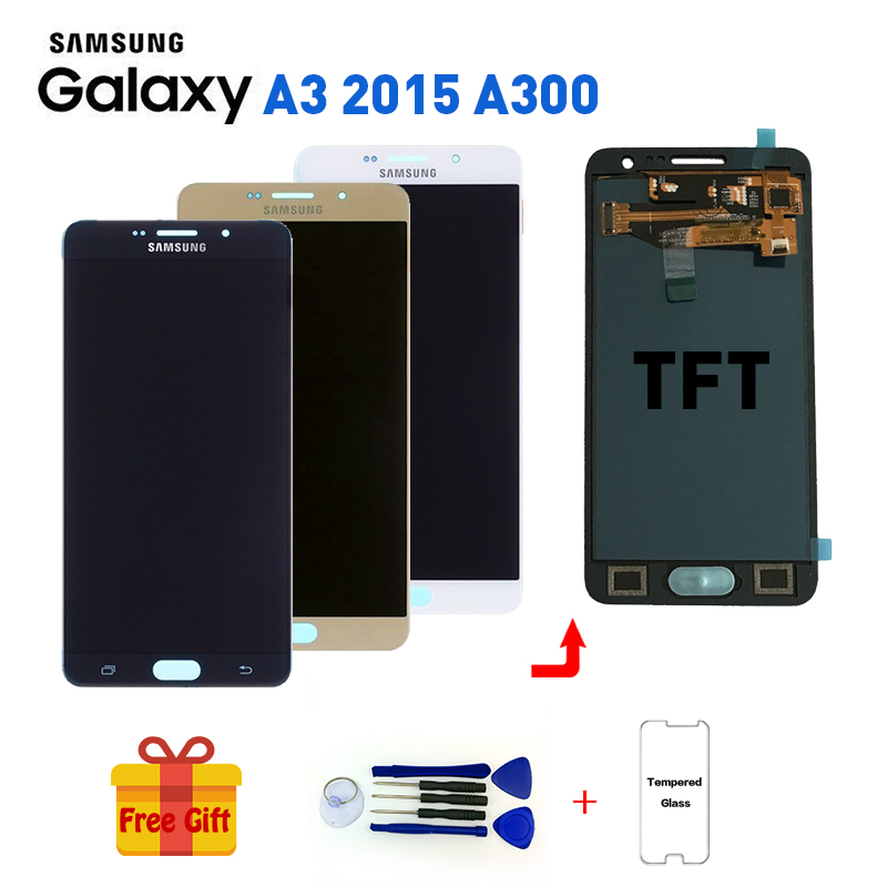 100% Tested TFT LCD For Samsung Galaxy A3 2015 A300 A3000 A300F A300M LCD Display+Touch Screen Assembly Brightness Can Adjust