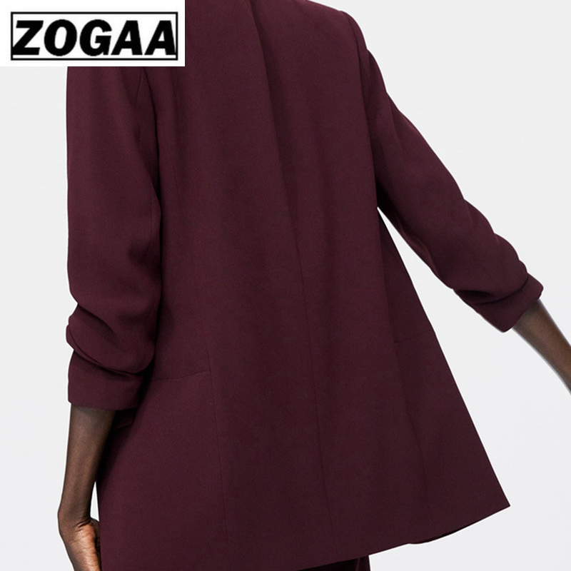 ZOGGA Europe And The United States Single Autumn And Winter Female Dark Red Drape Slim Ladies Blazer