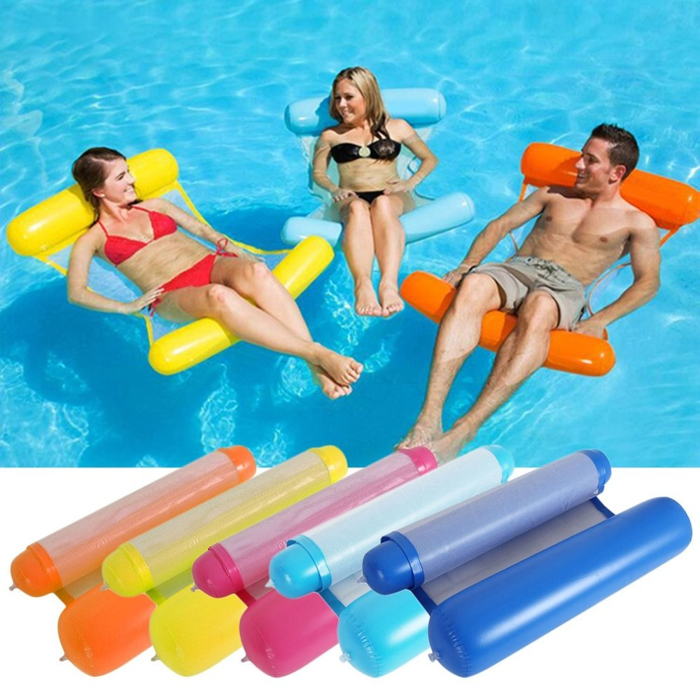 Inflatable Water Pool Air Mattress Toys For Swimming Foldable Design Dual Use Air Chair Water Mattress Hammock For Swimming Pool
