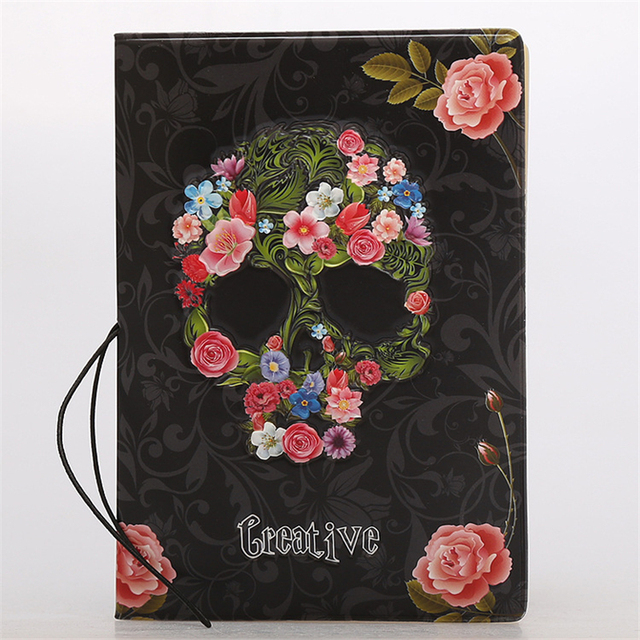 3D Skull Floral Passport Cover