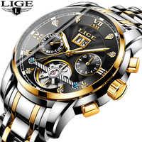 2019Business Clock Mens Watches Luxury Brand Top LIGE Tourbillon Sport Mechanical Watch Men Fashion Automatic Watch Reloj Hombre