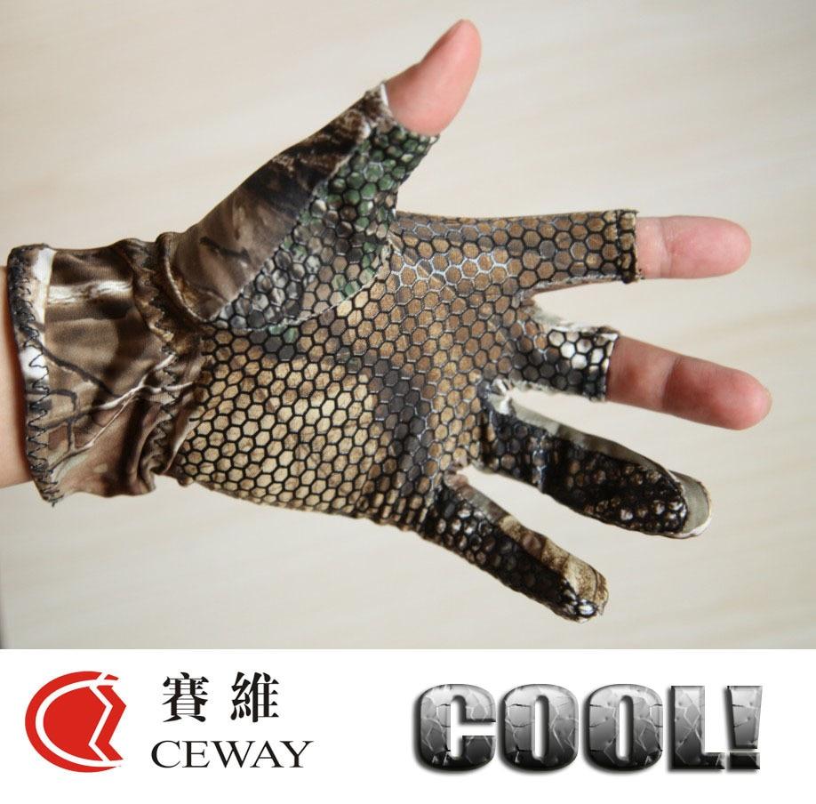 Fingerless Jakt Oak Camo Gel Fish Glove Camouflage Bekväm Anti Slip Elastic Fiskehandskar Skidtät Nonslip Thin Mitten