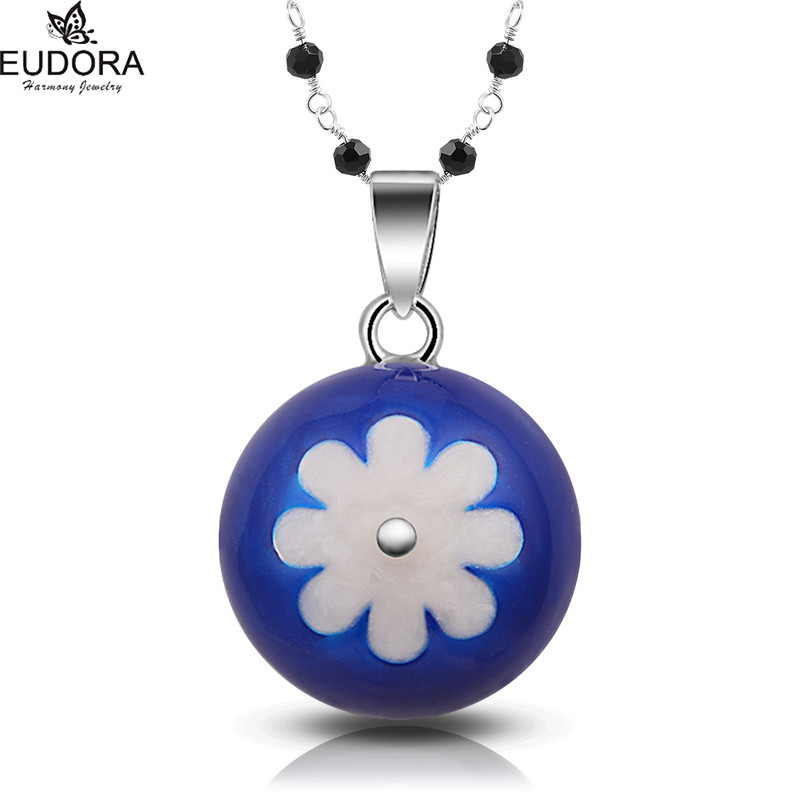 Angel Caller White-Blue Flower Mexican Bola 22mm Eudora Harmony Ball Fashion Black Beads Necklace Jewelry For Pregnant Women