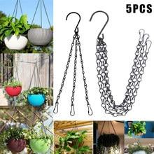 Economical 5Pcs Flower Pot Hanging Chain Basket Flower Pot 3 Point Garden Plant Hanger with Hooks ds99