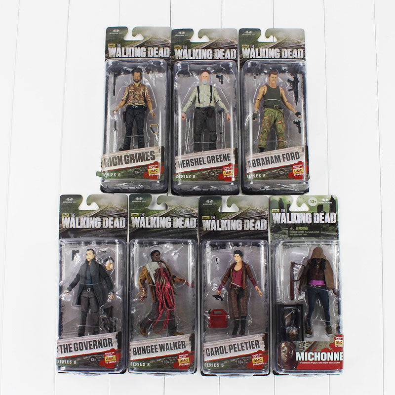7styles set AMC series 3 The Walking Dead Negan Action Figure toy Abraham Ford Bungee Walker Rick Grimes Michonne collectible худи print bar the walking dead