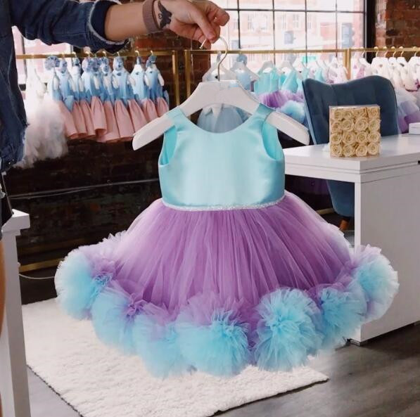 Short Puffy tulle Ruffles purple and blue flower girl dresses for dancing party Christmas ball gown kids baby birthday gownShort Puffy tulle Ruffles purple and blue flower girl dresses for dancing party Christmas ball gown kids baby birthday gown
