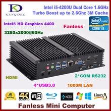 Fanless mini itx pc Intel Core i5 4200U with 4G RAM+128G SSD,HDMI 2 COM rs232,USB 3.0,WiFi,industrial pc
