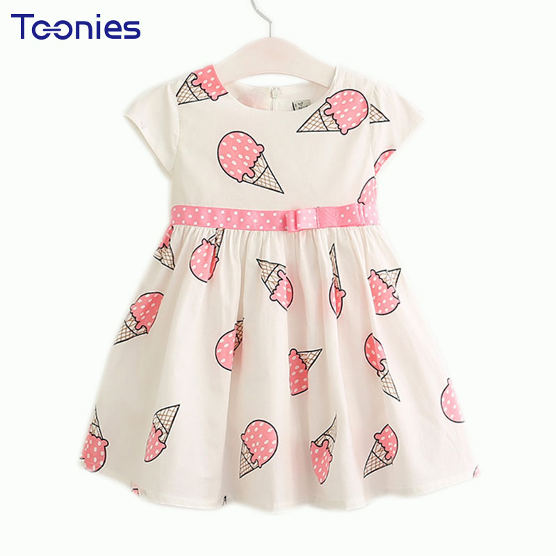 Cotton Girls Dress Summer Ice Cream Print Toddler Party Costume Kid Clothes Sweet Cute Bow Belt Short Sleeve Vestido Clothing
