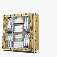 FREE Shipping Oxford Cloth Wardrobe Closet Large And Medium Sized Cabinets Simple Folding Reinforcement Receive Stowed