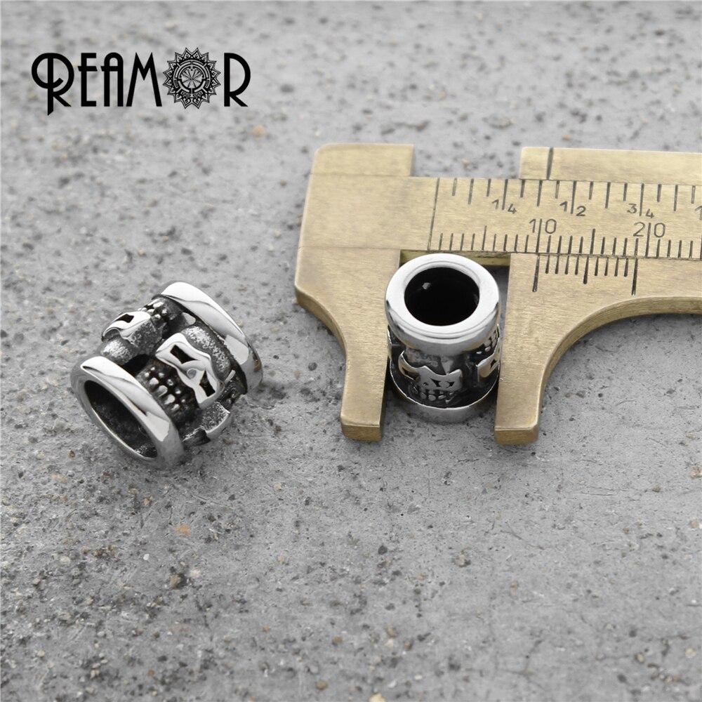 REAMOR Punk 316l баспайтын болат Skull Big Hole Spacer - Сәндік зергерлік бұйымдар - фото 3