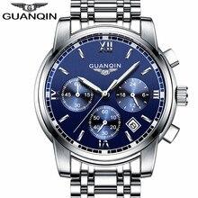 relogio masculino GUANQIN Mens Watches Top Brand Luxury Fashion Business Quartz Watch Men Sport Full Steel Waterproof Wristwatch