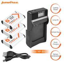 3Packs NP-BX1 NP BX1 NPBX1 Li-ion Battery+1Port Battery charger with LED For Sony WX300 HDR-AS10  AS30V AS100V AS100VR RX100 L20