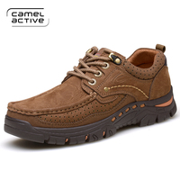 Camel Active Brand Handmade Breathable Men Outdoor Shoes Top Quality Dress Shoes Men Flats Fashion Genuine Leather Casual Shoes