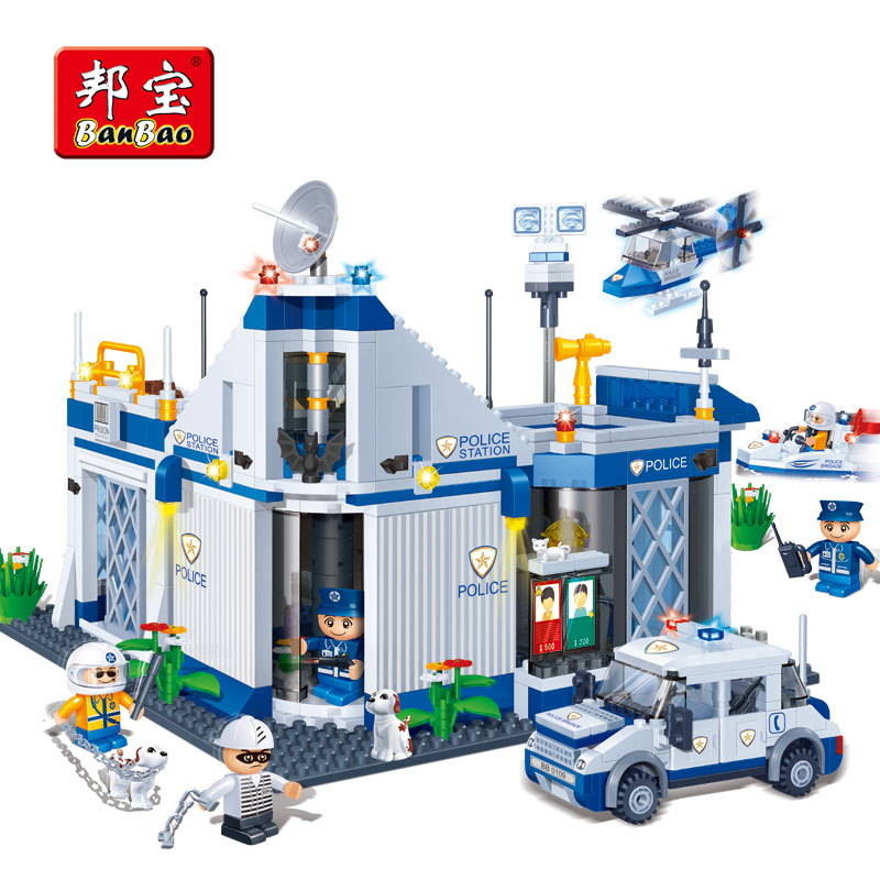 BanBao Police Station Car Helicopter Educational Building Blocks Model Toy Bricks 8341 Children Kid Friend Compatible With Legoe 442pcs police station building blocks bricks educational helicopter toys compatible with legoe city birthday gift toy brinquedos