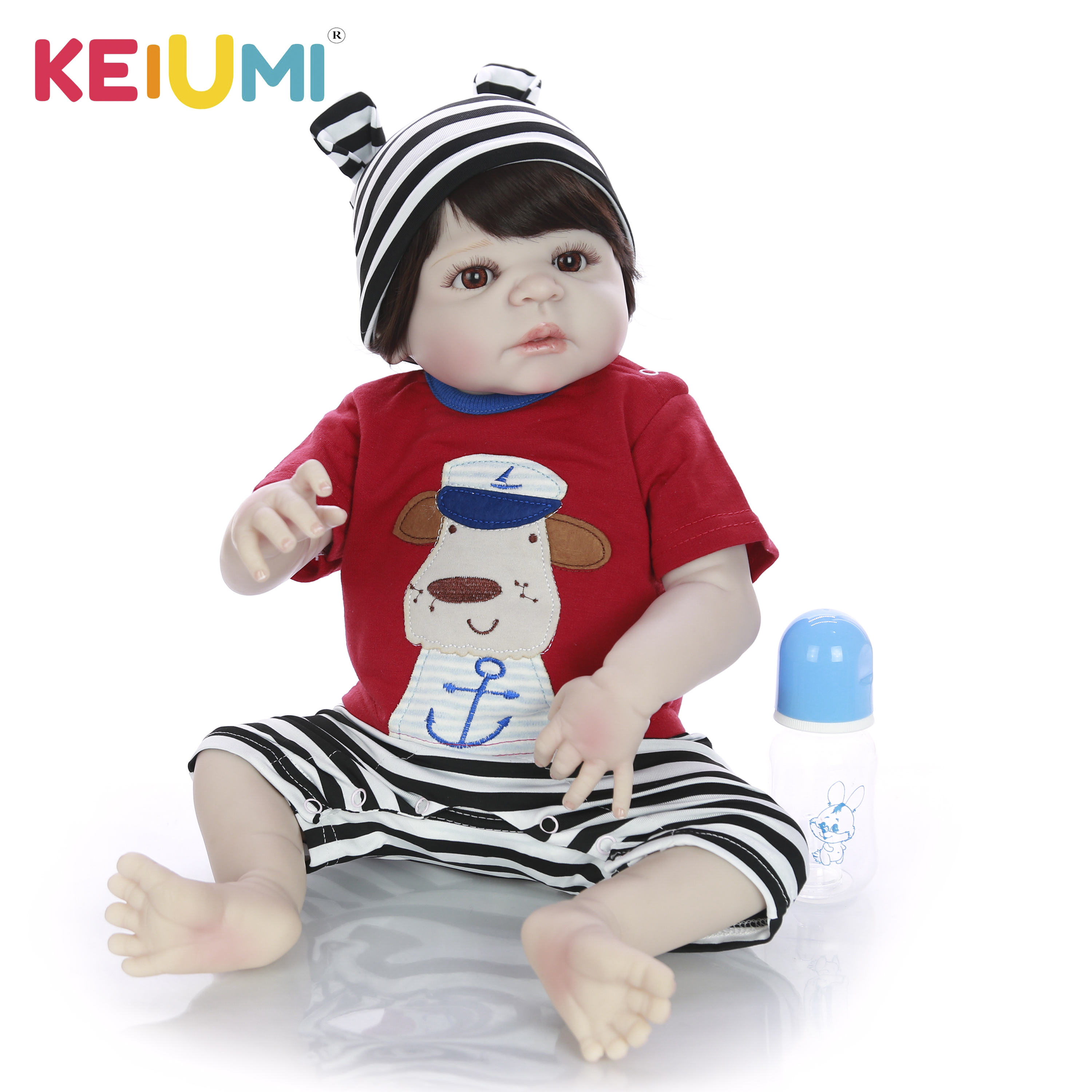 Fashion Reborn Baby Dolls Full Vinyl Body 23'' Realistic Silicone Boneca Reborns Hot Sale Baby Boy Toys Newborn Dolls For Gifts-in Dolls from Toys & Hobbies    1