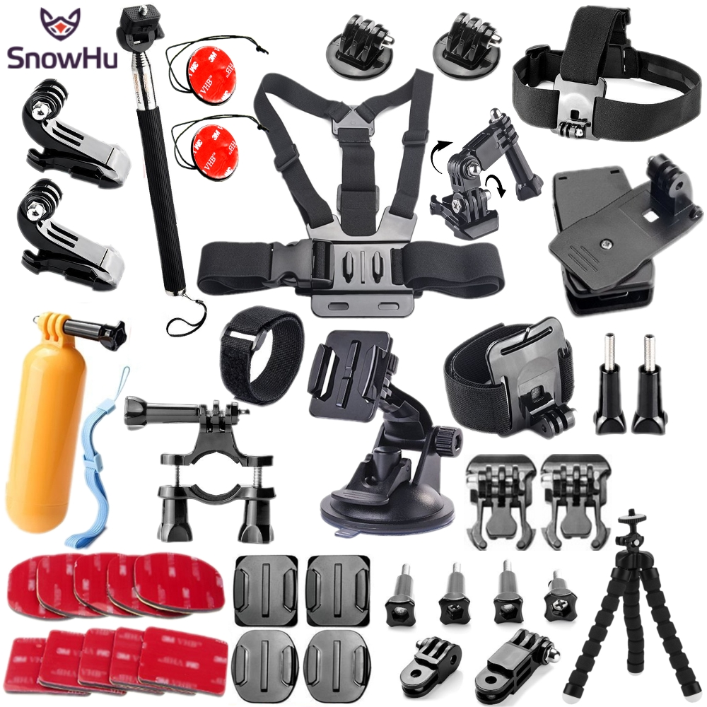 SnowHu For action camera accessories set mount tripod for gopro hero 5 4 3 for Go pro kit for xiaomi yi 4K camera for EKEN GS52 snowhu for gopro accessories set mount tripod for go pro hero 6 5 4 3 sjcam sj4000 for xiomi kit for xiaomi yi 4k camera gs52