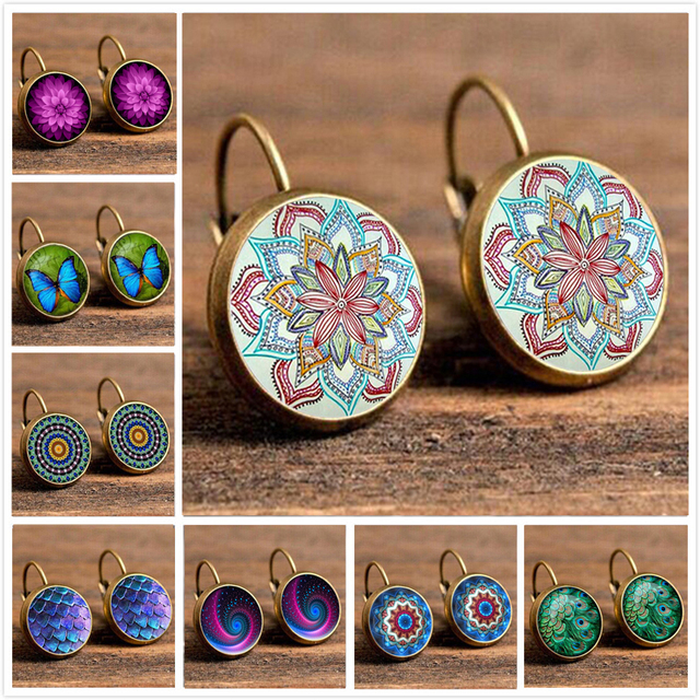 Crazy Feng Fashion Flower Printed Hoop Earrings Jewelry Ethnic Big Round Earring