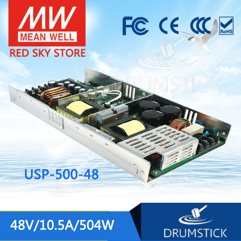 Selling Hot MEAN WELL USP-500-48 48V 10.5A meanwell USP-500 48V 408W Single Output with PFC Function Power Supply mean well usp 150 48 48v 3 2a meanwell usp 150 48v 153 6w u bracket with pfc function power supply
