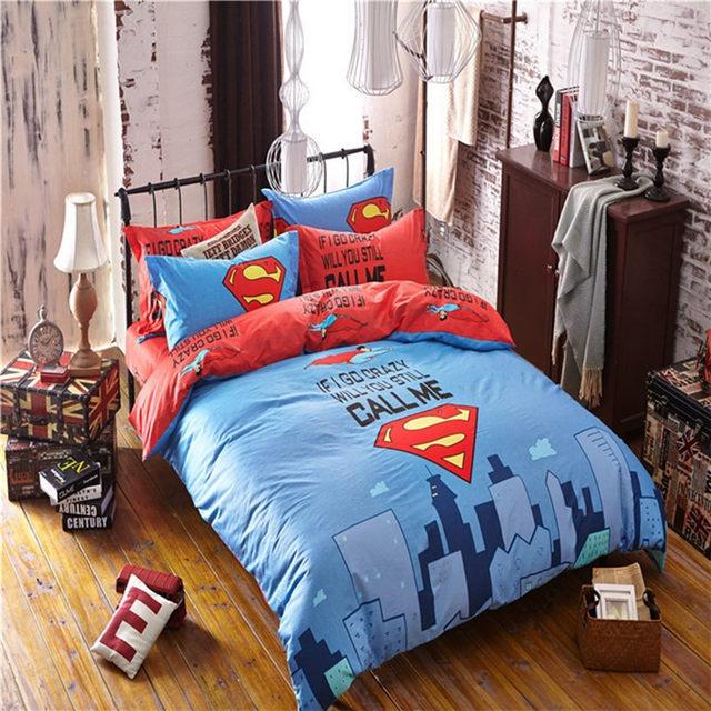 Superman Printed Bedding Set For Boys/Kids Marvel Superhero Duvet Cover/ Sheet/Pillowcase/Comforter Twin Queen Beddings