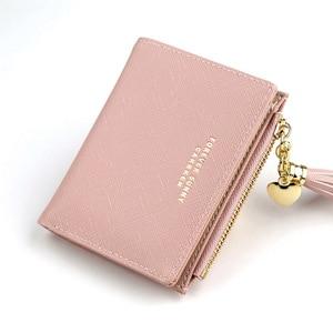 Women Short Wallet Fashion Crossed Grain PU Leather Tassel Zipper Coin Purse Mini Money Bag Girls Small Cute Pink Card Holder