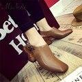 Г-жа Noki женская мода ботильоны на высоком каблуке британский старинные площади toe pu кожа мех насосы женщина случайные короткие полусапожки обувь