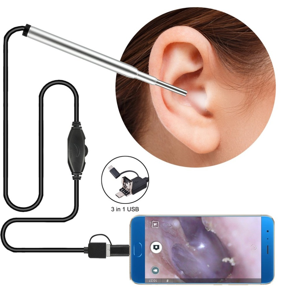3 In 1 Professional 3.7MM Multifunctional USB Ear Cleaning Endoscope Earpick With Mini Camera HD Earwax Removal Kit New Selling