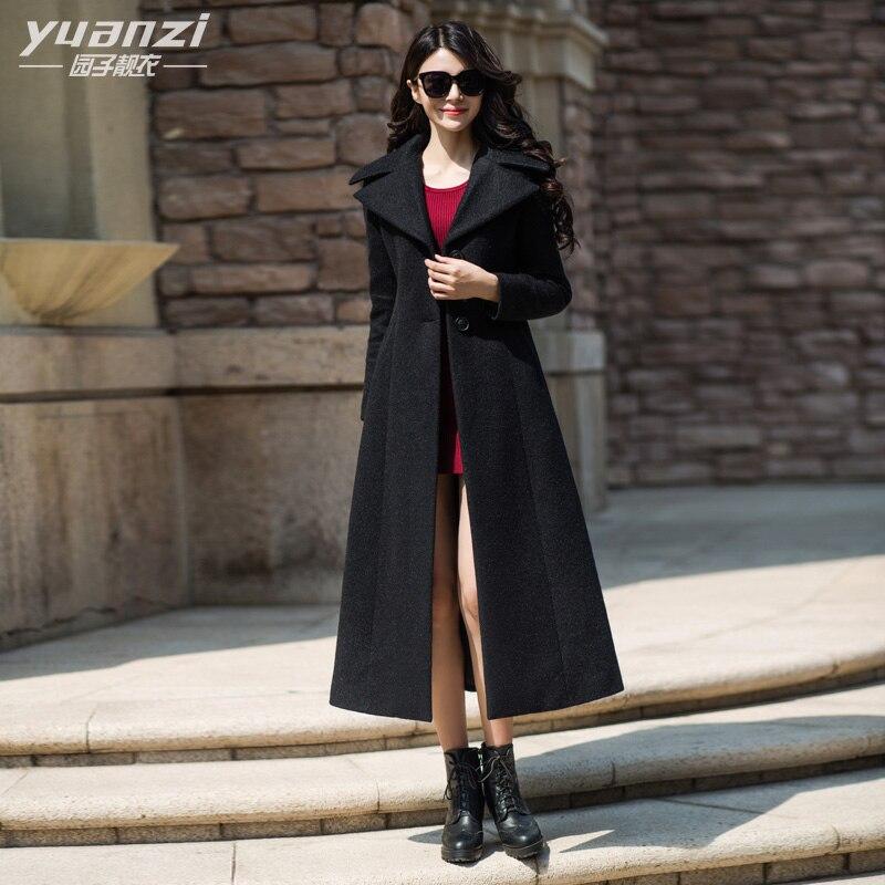 Mode Élégant Noir En Cachemire Manteau Femmes 2018 Hiver Nouvelle Longue Laine Manteau Mince Grandes Tailles Épais Pardessus De Laine manteau femme