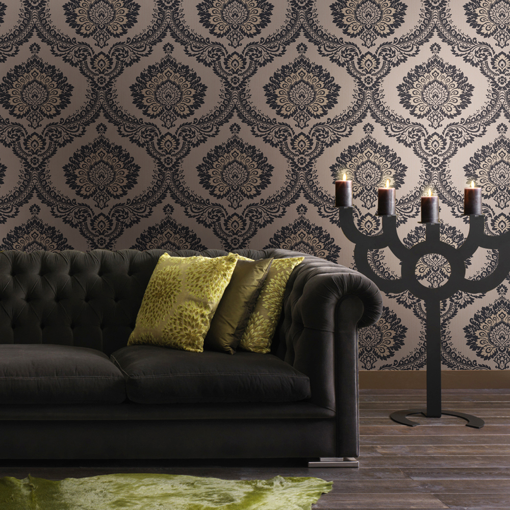 Popular black velvet wallpaper buy cheap black velvet for Damask wallpaper living room ideas