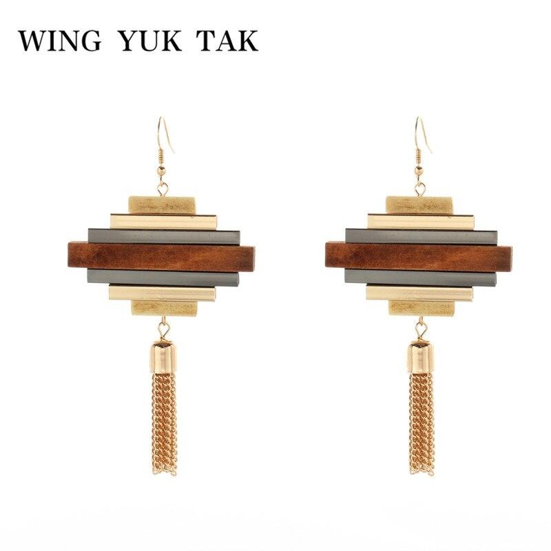 Wing Yuk Tak Original Design Drop Earrings Fashion Classic Vintage Geometric Wood Earrings For Women Statement Jewelry Bijoux