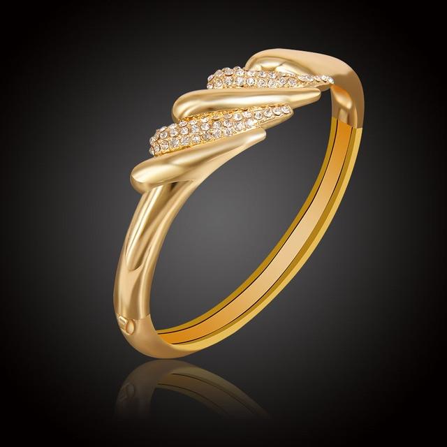 Gold Color Jewelry Bangle For Women Whole Fashion Trendy Design Austrian Crystal Rhinestone Cuff Bracelets