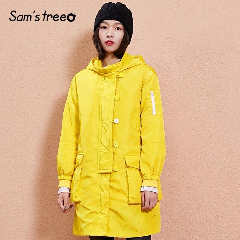 Solide Outwear Green Lâche Couleur Large Long Femelle Vintage yellow Manteau Capuchon À Taille Poche Femmes Samstree Hiver qRCg6xwIW