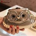 2016 New Women's Fashion Banquet Clutch Exquisite Diamond Owl Hard Case Evening Bag Wedding Party Handbag Purse Shoulder Bag