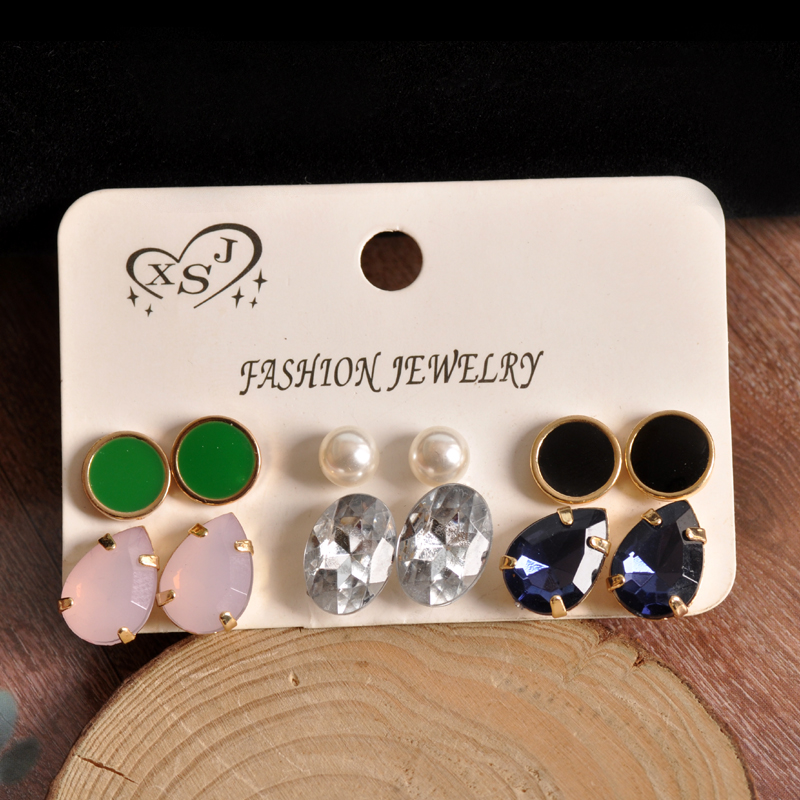 New fashion and gorgeous womens jewelry Girl Birthday Party pearl ear nail green black white mix style 6 pairs/set ear ring