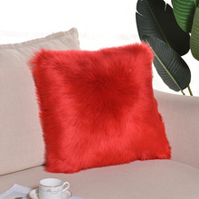 Pure White/Gray/Red Wool Cushion Cover Solid One Side Faux Fur Decorative Throw Pillow Case Square Plush For Home Decor 45x45cm