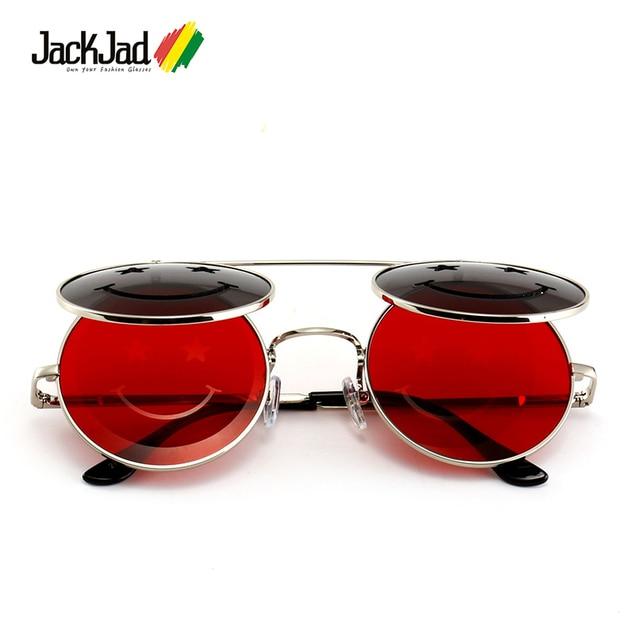 63cd54f1d2c9d JackJad 2018 Fashion Metal Round SteamPunk Style Sunglasses Smile Face Vintage  Clamshell Flip Up Sun Glasses Oculos De Sol 27050