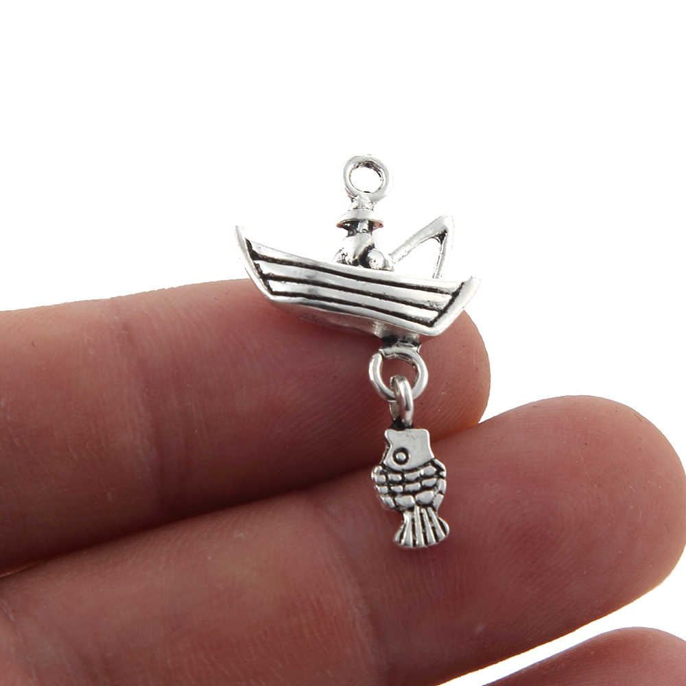 30pcs New Creative Design FISHERMAN BOAT & FISH Alloy Pendant Charms For Bracelet Neaklace Jewelry Making