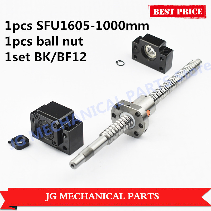 16mm Dia Ballscrew set:RM1605 L=1000mm Rolled Ball Screw+SFU1605 single ballnut+BK/BF12 ballscrew end support for CNC Parts 16mm rolled ballscrew sfu1610 l 500mm ball lead screw c7 with single ballnut 1set bk bf12 end support for cnc parts